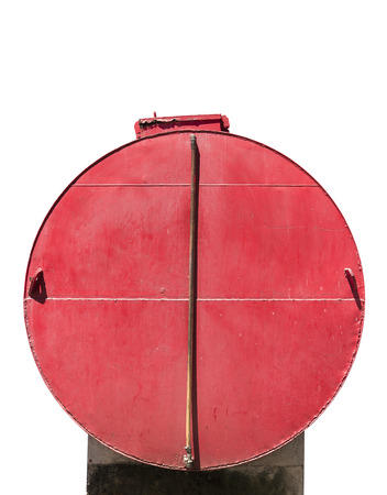 remediation: Red cylinder tank isolated on white background Stock Photo