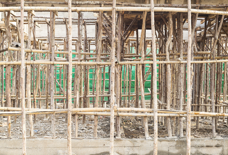 site preparation: Construction site of concrete building with wooden frames.