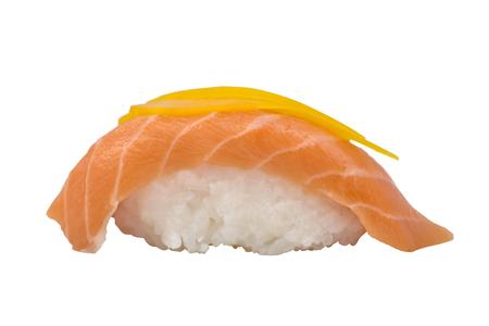 Nigiri Sushi with Orange Slice of Salmon Isolated on White Background. Stock Photo