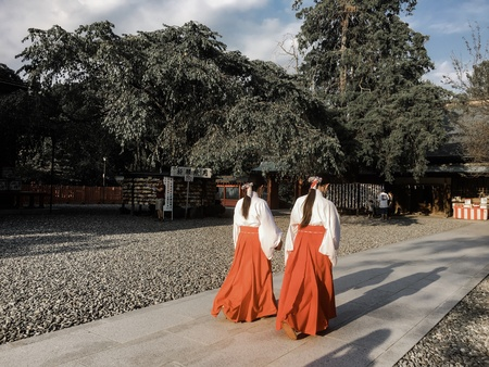 wish: Two Japanese girl in Fujisan Hongu shrine, Japan