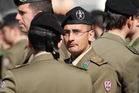 Roma, IT - March 10, 2011 - Piazza Venezia, Italian military man in a uniform standing in the crowd Editorial