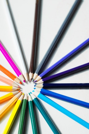 Coloured pencils in a circle on a white background Stock Photo