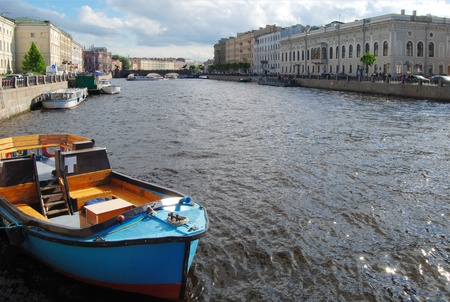 Boat on the river Neva