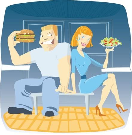 Vrouw met salade en man met hamburger in cafe