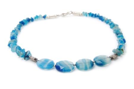 Blue necklace isolated on white Stock Photo