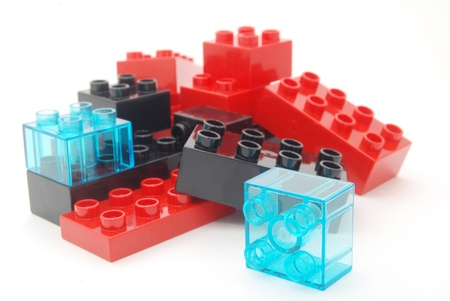Lego building blocks in red, black and blue colors