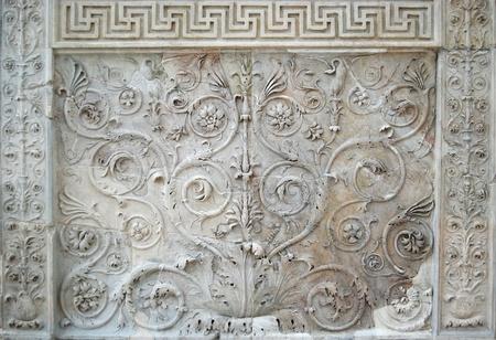 Fragment van Tellus deelvenster spuitgieten. Ara Pacis in Rome Stockfoto