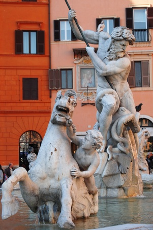 Piazza Navona fountain detail with horse on a red backgroung