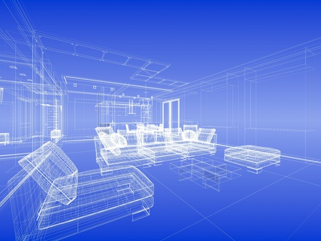 furniture idea: Abstract wireframe interior of living-room open space over blue gradient background Stock Photo
