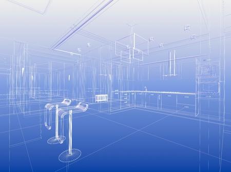Abstract wireframe blauw interieur. Bouwkundig render (3D-afbeelding)