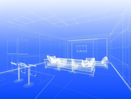 Abstract wireframe interior of living-room open space over blue gradient background Foto de archivo