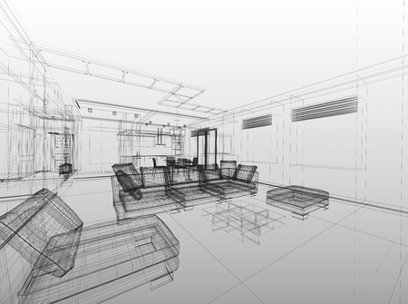 Abstract wireframe interior of living-room open space over grey gradient background