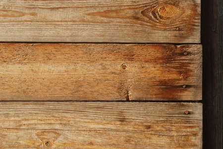 Texture of shabby wooden planks with rusty nails Stock Photo