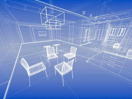 Abstract wireframe blauw interieur. Bouwkundig render (3d-illustratie)