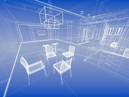 kitchen studio: Abstract wireframe blue interior. Architectural render (3d-illustration)