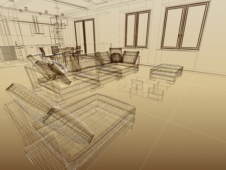 Abstract wireframe interior. Fragment with sofas. 3-d sketch as an architectural concept. Wide angle Stock Photo