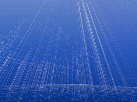 Abstract wireframe sketch background. Construction project Stock Photo