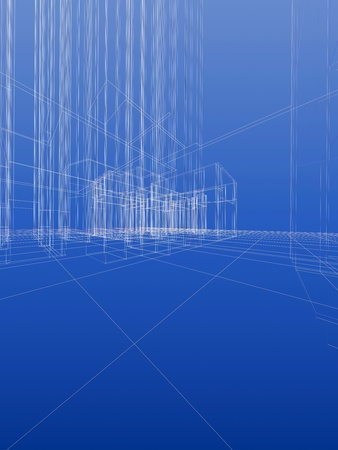 Abstract wireframe sketch background. Blueprint style, vertical format