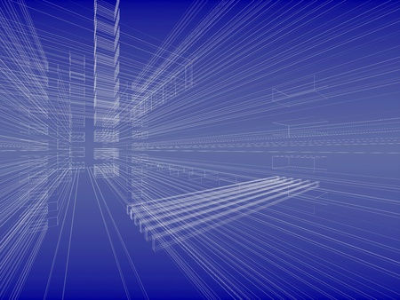 Abstract wireframe sketch background. Blueprint style photo