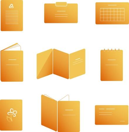 Druk bijbehorende pictogrammen in oranje Stock Illustratie