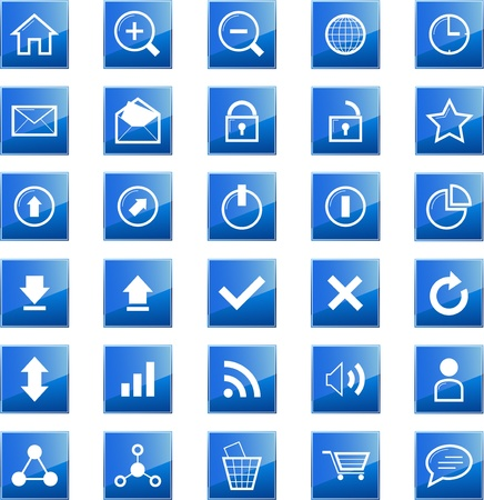 Set of 30 web related blue icons