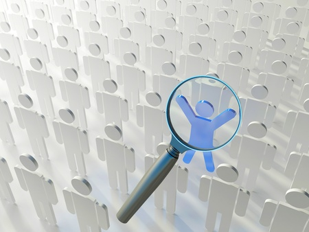 Searching for the right person. Loupe over the blue human figure standing out of the grey crowd Stock Photo