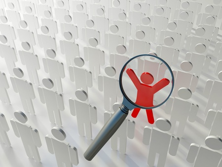 Searching for the right person. Loupe over the blue human figure standing out of the grey crowd Standard-Bild