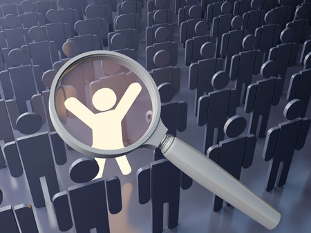 Searching concept. Outstanding  person in the crowd. Big magnifying glass over the bright figure among grey human figures