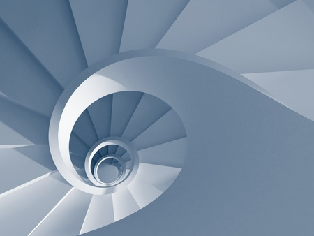 Blue spiral staircase. 3d-rendering Stock Photo
