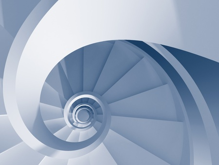 Blue abstract spiral staircase. High resolution 3d-rendering Stock Photo