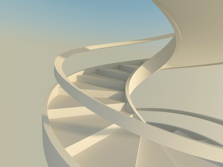 Abstract spiral staircase with slim handrails over blue sky