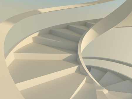 Abstract spiral staircase with slim handrails