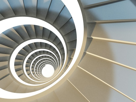 spiral staircase: Abstract endless spiral staircase with soft shadows. View from above. 3d-illustration