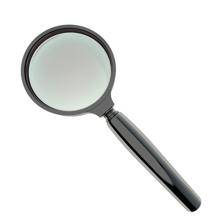 Magnifying glass with black plastic handle isolated on white. High resolution 3d-rendering Stock Photo