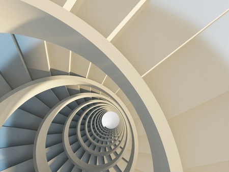 warm up: Abstract endless spiral staircase with soft shadows. View from above. 3d-illustration