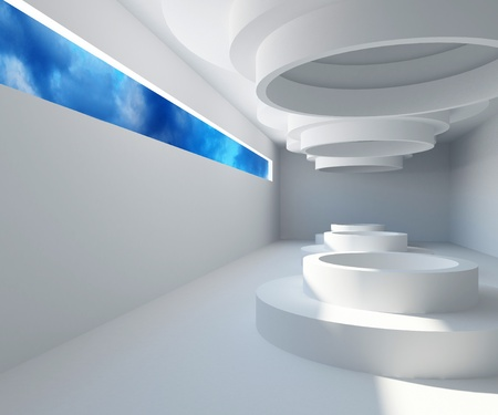 Abstract white modern architecture