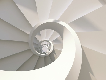Abstract spiral staircase view from above