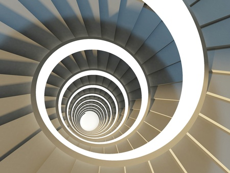 Abstract spiral staircase view from above photo