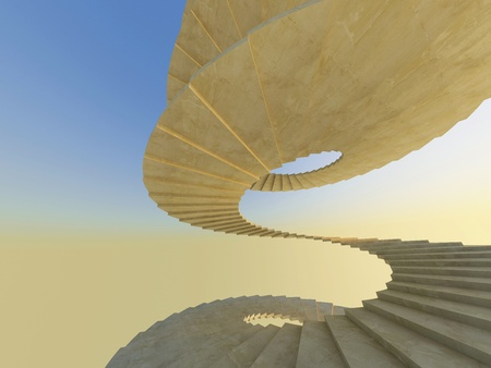 skylight: Concrete endless spiral staircase in warm natural light. High resolution 3d-rendering Stock Photo