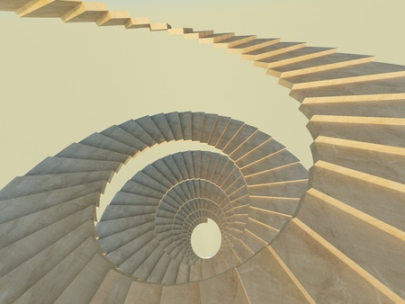 Concrete endlecc spiral staircase. View from above