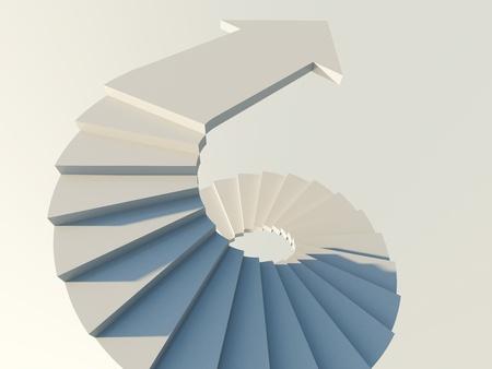 espiral: Escalera de caracol con la flecha Foto de archivo