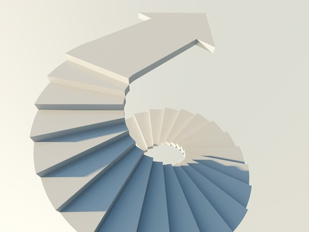 Spiral staircase with arrow
