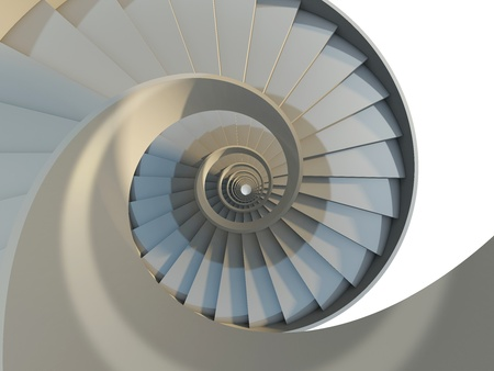 Abstract endless spiral staircase with soft shadows. View from above. 3d-illustration