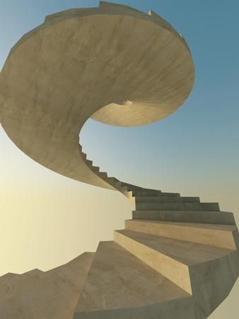 Concrete spiral staircase as a metaphor of success Stock Photo