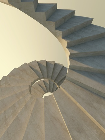 Abstract concrete spiral staircase in warm light