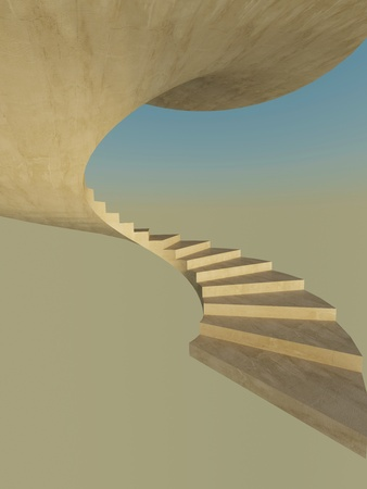 Abstract spiral staircase. First steps Stock Photo