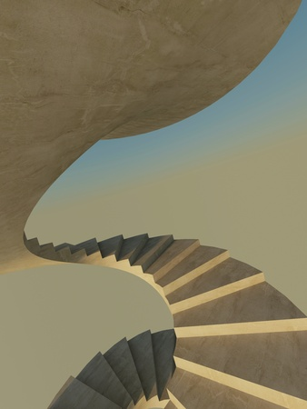 Abstract endless spiral staircase as a concept of success