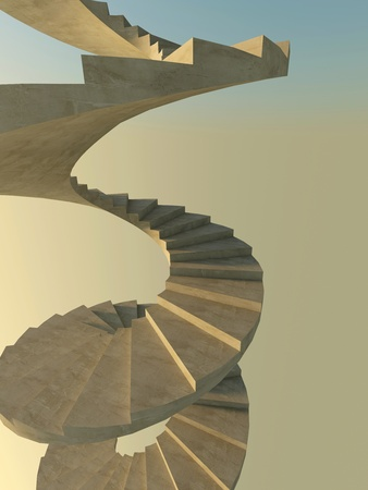 Abstract spiral staircase. Vertical format, wide angle of view