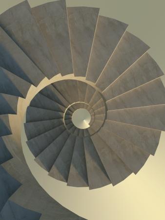 Abstract betonnen wenteltrap, bekijken van boven