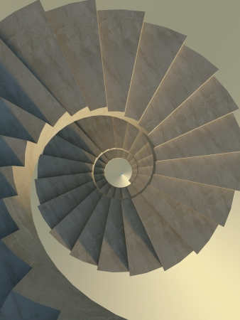 Abstract concrete spiral staircase, view from above